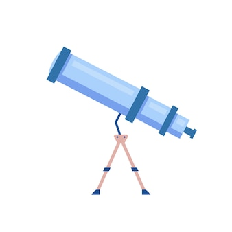 Telescope cartoon illustration. tool to observe night sky