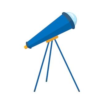 망원경 평면 아이콘입니다. 교육, 망원경 및 연구 별의 요소입니다. 흰색 배경에 평면 벡터 일러스트 레이 션