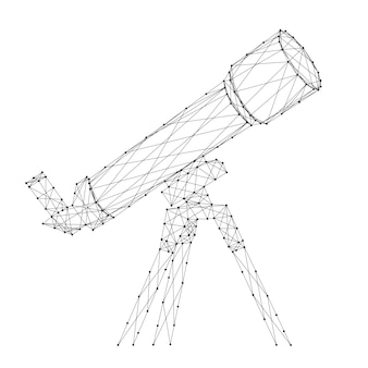 Telescope from abstract futuristic polygonal black lines and dots.