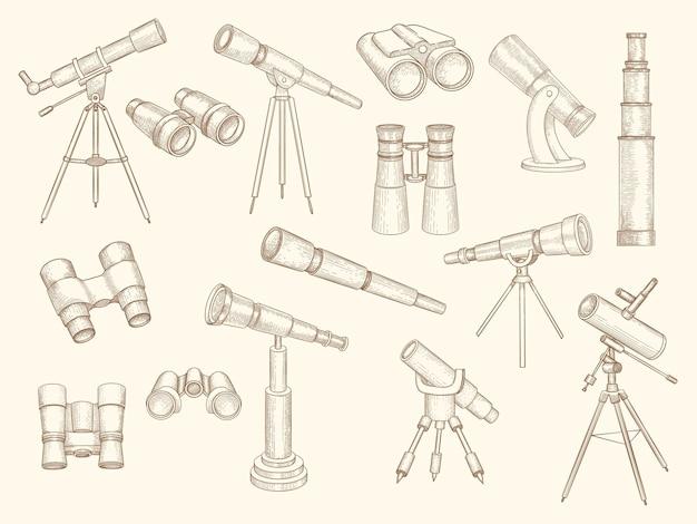 望遠鏡の手描き。探検家の人々のためのレトロなガジェット軍用光学双眼鏡は落書き写真をベクトルします。学校教育用望遠鏡、スパイグラス機器のイラスト