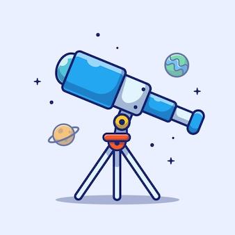 Значок телескопа. телескоп, планета, звезды и земля, космический значок белый изолированный