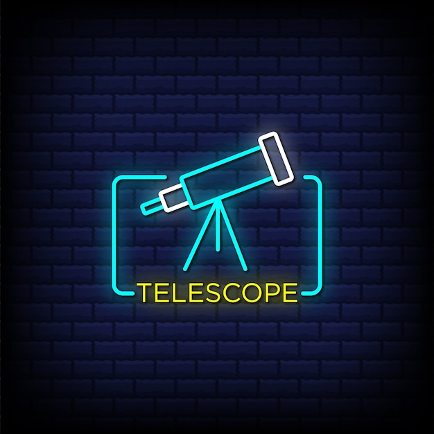 Telescope neon signs style text