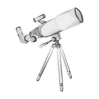 검은 점과 입자로 구성된 망원경 실루엣. 그레인 텍스처가 있는 망원경의 3d 벡터 와이어프레임. 흰색 배경에 고립 된 점선 구조로 추상적인 기하학적 아이콘 프리미엄 벡터
