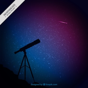 Telescope silhouette and starry sky background