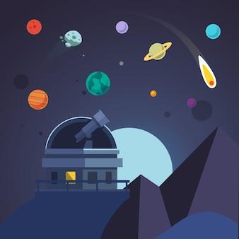 망원경은 전망대 돔에 앉아