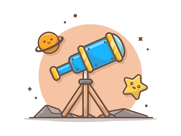 Telescope with cute planet and cute star icon illustration