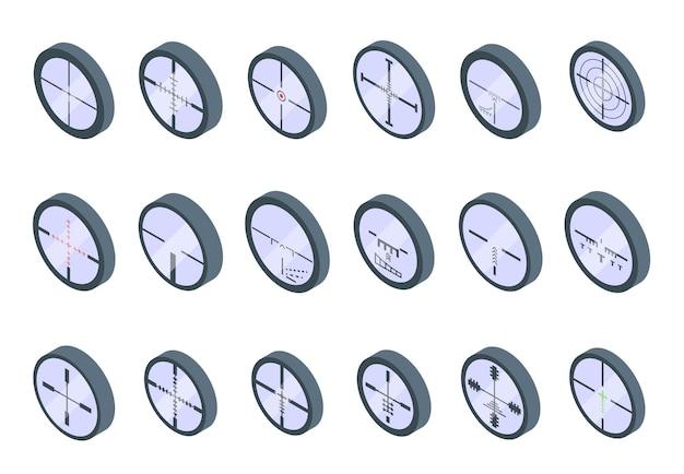 Telescopic sight icons set. isometric set of telescopic sight vector icons for web design isolated on white background