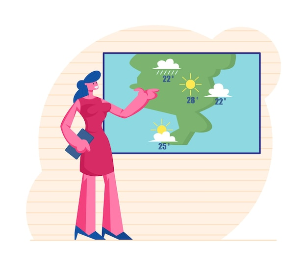 Television anchorwoman at studio forecast weather during live broadcasting.
