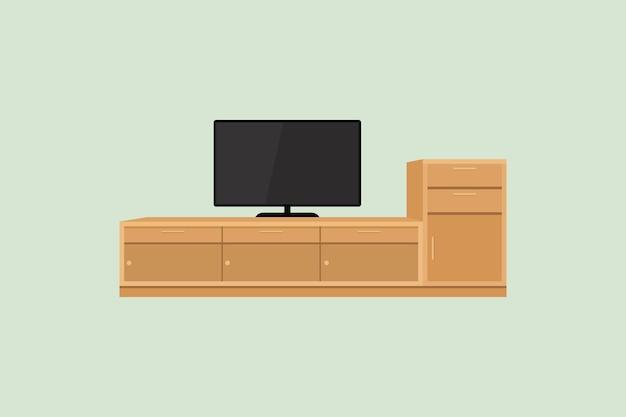 Телевизор и телевизионный стол, изолированные на зеленом фоне в плоском дизайне