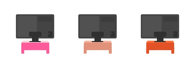Television back flat color objects set. tv on colorful tables. wide telly screen backside. living room equipment isolated cartoon