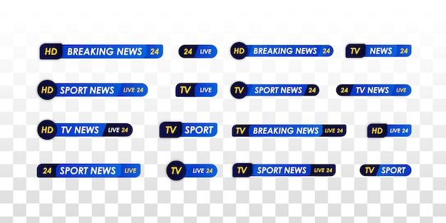 Баннер заголовка средств массовой информации телевидения. панель новостей телевидения. прямая телетрансляция, потоковое шоу. новости спорта. логотипы, новостные ленты, теле-, радиоканалы.