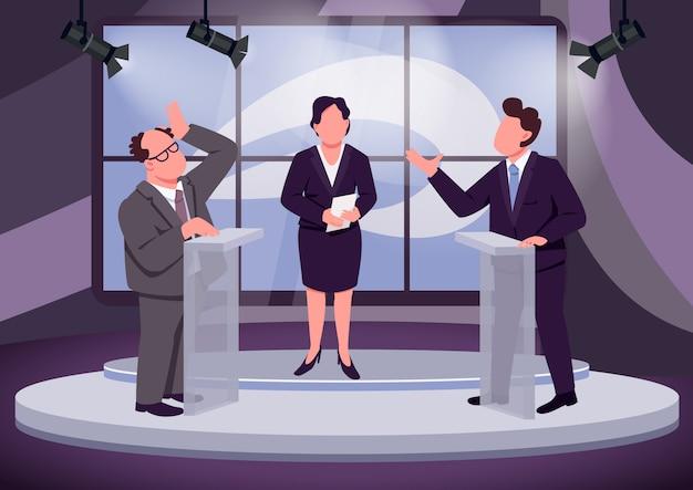 Телевизионные дебаты плоский цвет векторные иллюстрации. политический ведущий ток-шоу и спикеры 2d героев мультфильмов со студией на фоне. общественное обсуждение. политические противники за трибунами