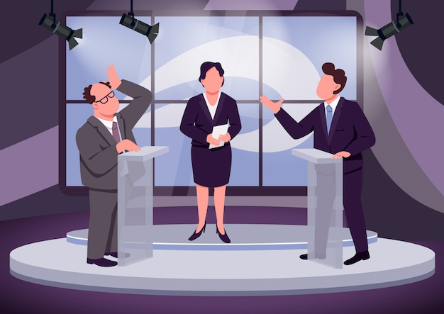 Television debate flat color vector illustration. political talk show host and speakers 2d cartoon characters with studio on background. public discussion. political opponents behind tribunes