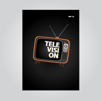 Television poster background with tv illustration and glitch text