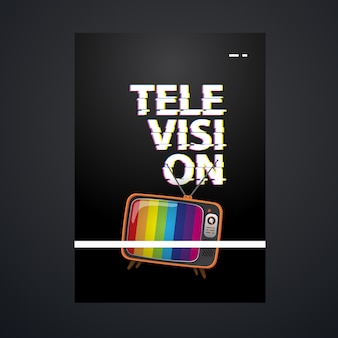 Television poster template with vintage television illustration