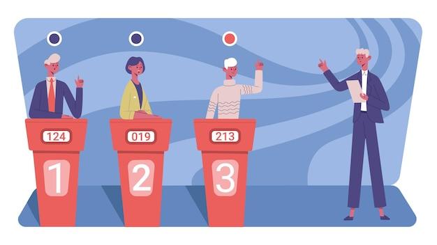 Телевизионная викторина. конкурсная игра-головоломка-викторина с телеведущей и игроками-деревьями векторная иллюстрация. развлекательная телепередача