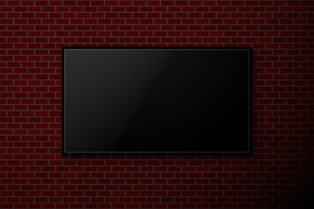 Television on red brick wall