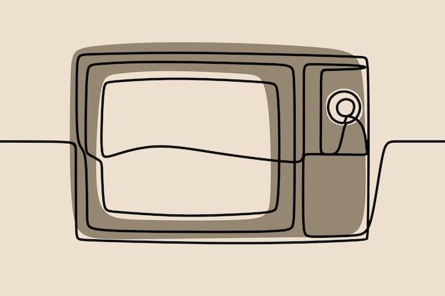 Television tv oneline continuous line art