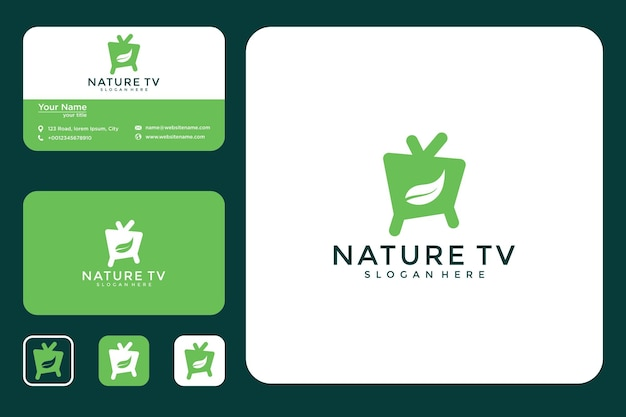Television with leaf logo design and business card