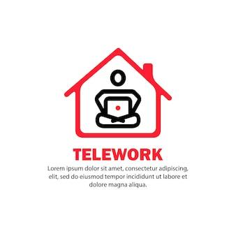 Баннер телеработы. человек учится или работает из дома. вектор на изолированном белом фоне. eps 10.