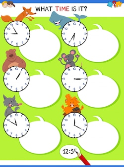 Telling time educational activity with animals