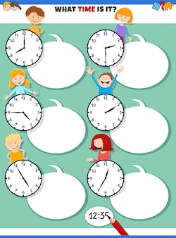 Telling time educational task with cartoon children