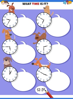 Telling time educational task with cartoon dogs