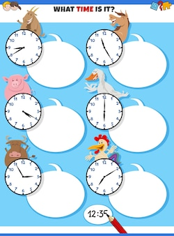 Telling time educational task with cartoon farm animals