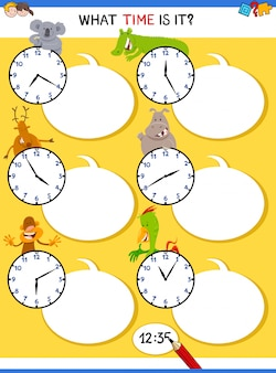 Telling time educational task with clock face