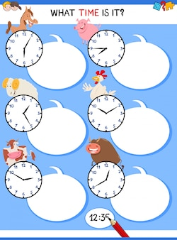 Telling time educational task with farm animals