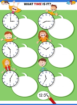행복한 아이들과 함께 시간 교육 작업