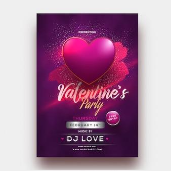 バレンタインの党temの紫色の背景に光沢のあるハート