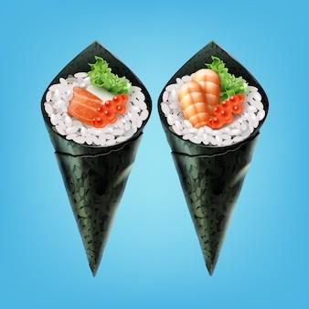イクラのサラダソフトチーズとエビをセットした手巻き寿司を正面から見る
