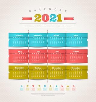 Temlate design calendar for 2021 year.