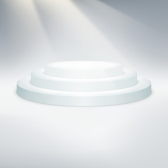 白い表彰台のテムレート。