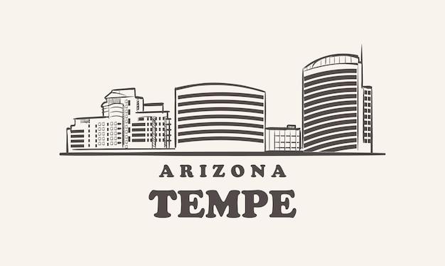 テンペのスカイライン、アリゾナ手描きスケッチ都市