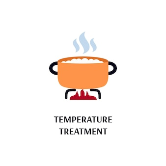Temperature or heat treatment a pot on flame flat vector illustration isolated