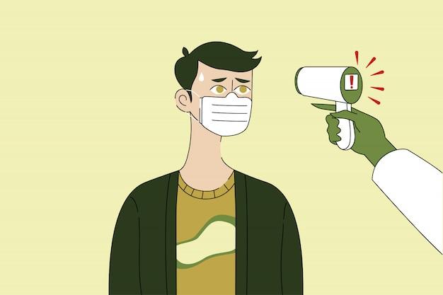温度測定、医学、コロナウイルス、ヘルスケアの概念。