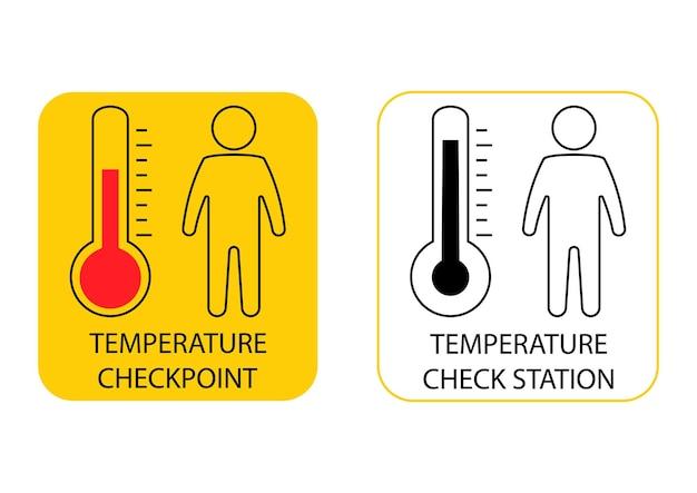 온도 스캔 기호입니다. 인체 온도, 가는 선 아이콘을 확인합니다. 발열 측정을 위한 검문소 또는 스테이션. 벡터 일러스트 레이 션 흰색 배경에 고립
