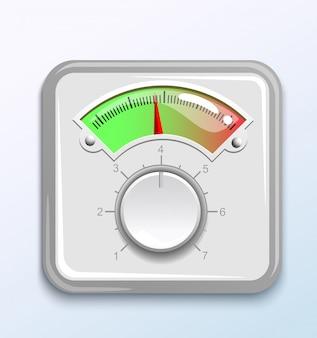 Датчик температуры с дисплеем и стрелкой с регулятором, кнопка для измерения скорости скорости звукового давления. иллюстрация