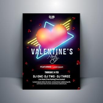 バレンタインデーtemplの黒の背景に光沢のあるハート