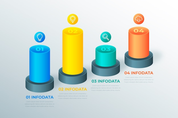 Template 3d bars infographic
