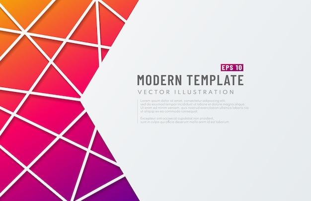 テンプレート3dカラフルな三角形の紙の白い背景