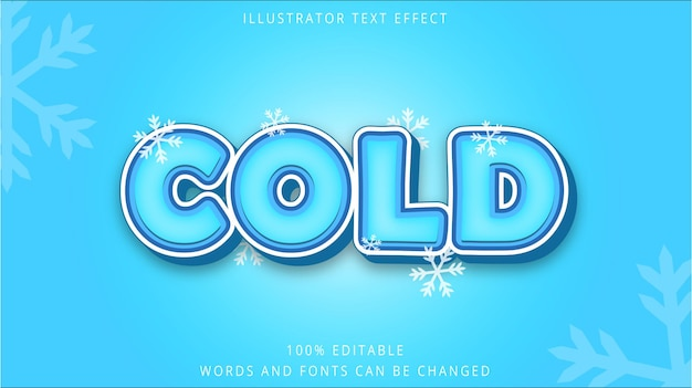 Template 3d text effect cold style