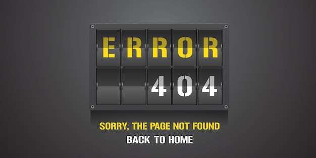 Template 404 error page, banner with not found message. mistake warning background for web page error 404 concept creative design element