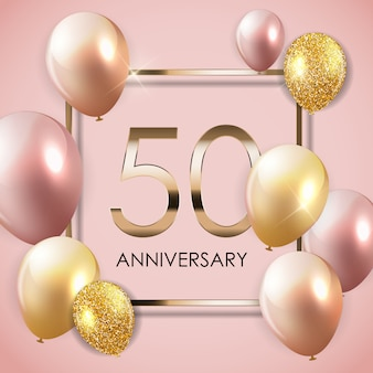 Template 50 years anniversary background with balloons