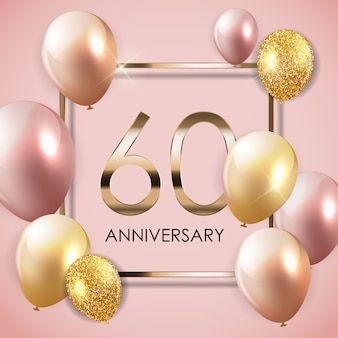 Template 60 years anniversary background with balloons