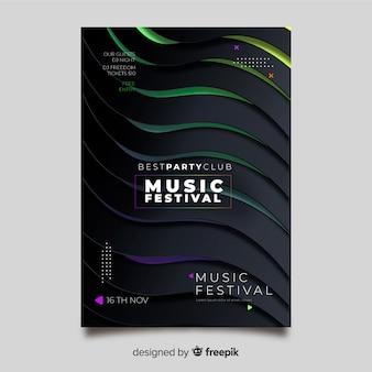 Manifesto astratto di musica elettronica di effetto 3d del modello