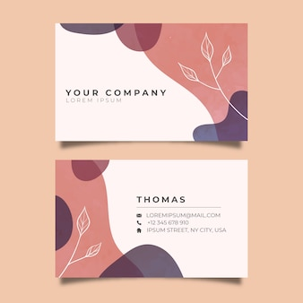 Template abstract business card with pastel-colored stain