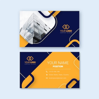 Template abstract business card with photo